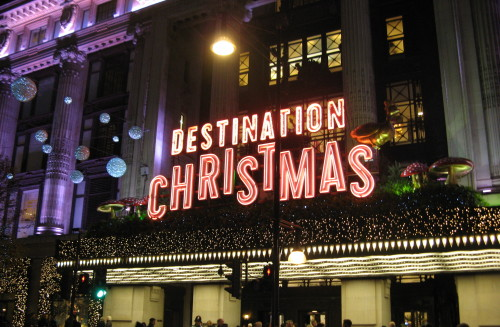 Part of Xmas decorations in de London Street illuminated text reading 'Destination Christmas'