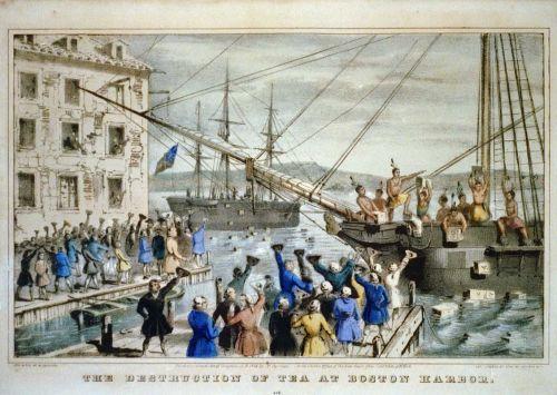 """The Destruction of Tea at Boston Harbor"" (1846) door Nathaniel Currier"