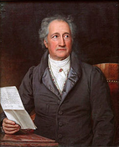 schilderij van de dichter Goethe met brief in de hand
