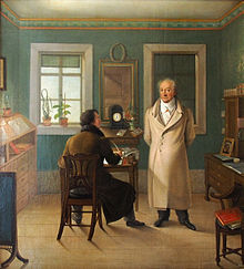 schilderij: de dichter Goethe dicteert zijn secretaris John