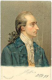 ansichtkaart van de dichter Goethe (schilderij van G. Oswald 1779)
