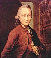 schilderij van de dichter Goethe op jeugdige leeftijd