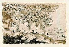 Tekening van de dichter Goethe 1787