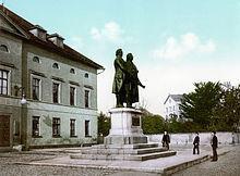Standbeeld van de dichters Goethe en Schiller in Weimar