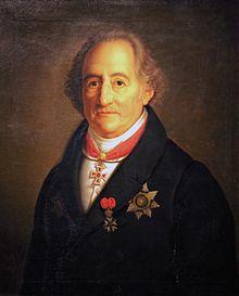 schilderij van de dichter Goethe op oudere leeftijd