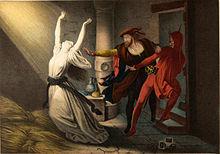 schilderij: strijd om vrouw tussen Faust en de duivel