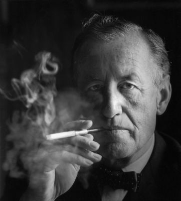 """Ian Fleming, headshot"" by Source (WP:NFCC#4). Licensed under Fair use of copyrighted material in the context of Ian Fleming"">Fair use via Wikipedia."