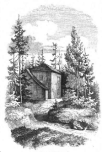tekening van hutje in het Thüringer Woud