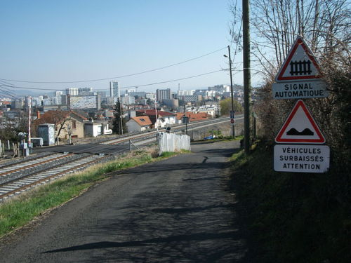 weg langs spoorlijn met verkeersborden
