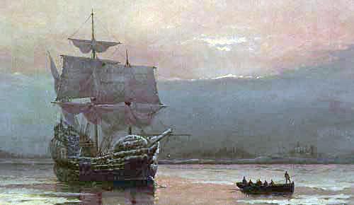 Het schip waarmee de eerste emigranten in Amerika kwamen