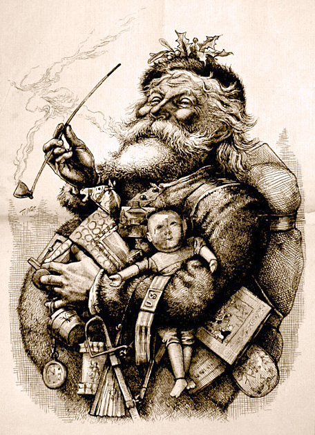 Black and white picture of Santa carrying lots of presents and smoking a pipe