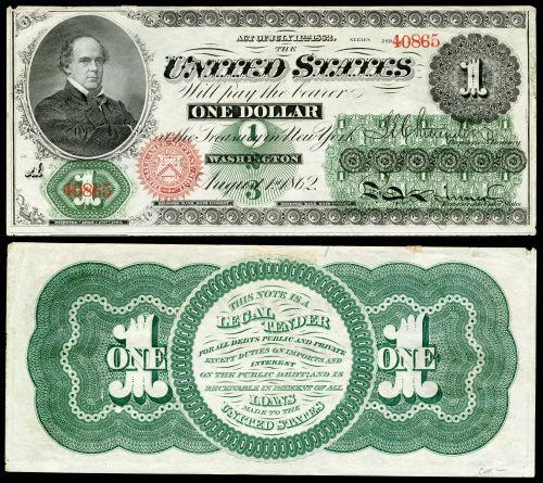 """De dollar """"Greenback"""", voor het eerst uitgeven in 1862"""