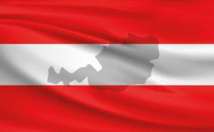 vlag van Oostenrijk met projectie van het land