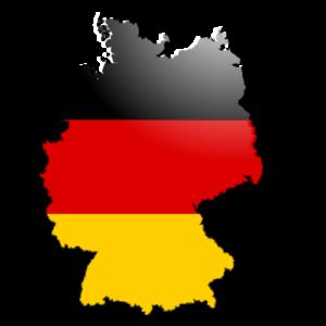 landkaart van Duitsland in de kleuren van de Duitse vlag