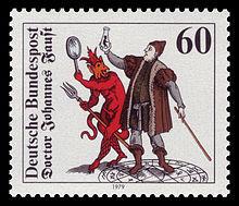 postzegel met afbeelding van Faust en de duivel